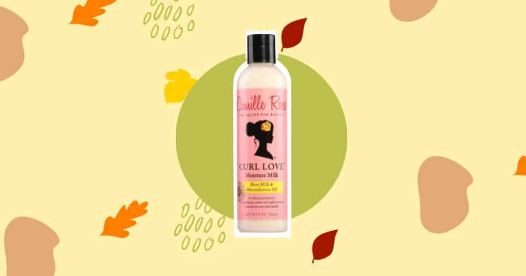 an image of cartoon autumn leaves with Camille rose curl love moisture milk in the centre