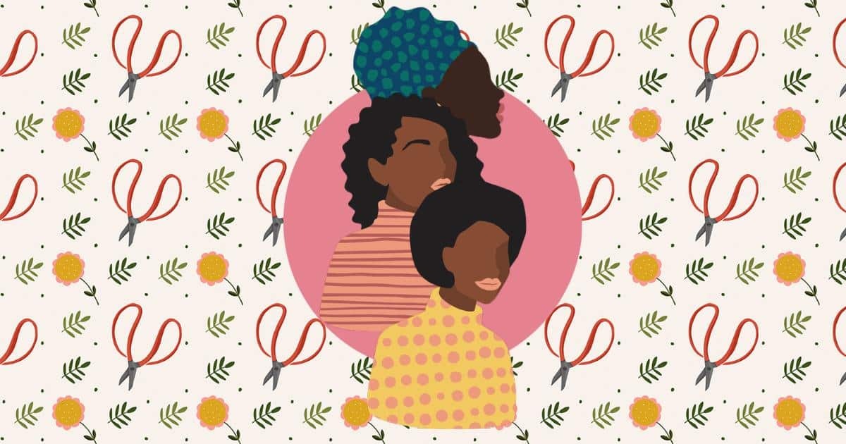 a cartoon image of natural hair women against a patterned background