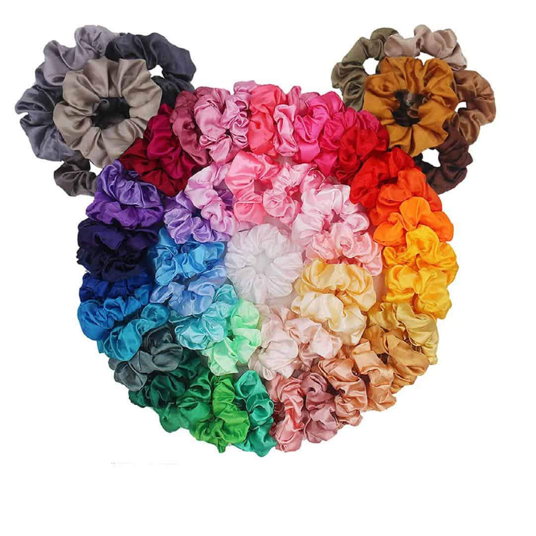 an image of 60 satin scrunchies for hair banding
