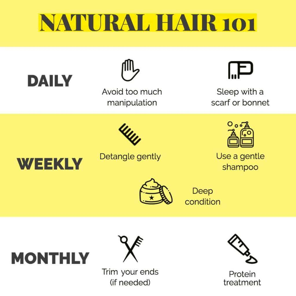 infographic showing how to take care of natural hair daily, weekly, monthly