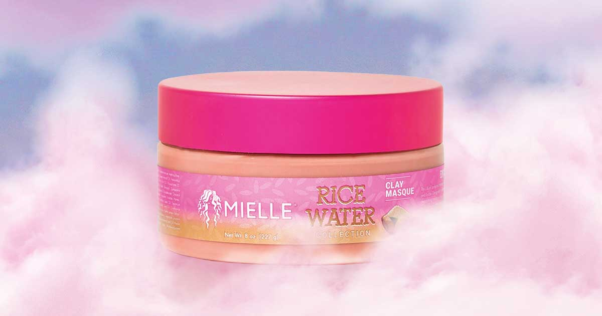 an image of the mielle rice water collection clay masque in some clouds